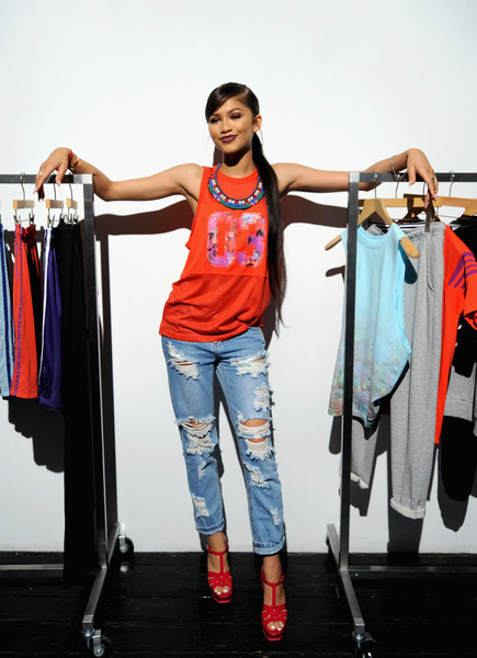 Zendaya Coleman Tank Top [unveils the adigirl collection,clothing,fashion,shoulder,jeans,fashion design,sportswear,t-shirt,clothes hanger,room,boutique,zendaya coleman,adidas,adigirl collection,new york city]