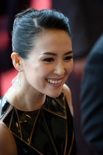 Zhang Ziyi Classic Bun [grace of monaco,hair,face,hairstyle,facial expression,eyebrow,beauty,lip,smile,chin,forehead,premiere,zhang ziyi,cannes,france,opening ceremony,the 67th annual cannes film festival,opening ceremony]