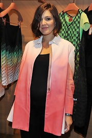 Margherita Missoni disguised her baby bump in an ombre zip-up jacket when she attended the ZigZagging event.