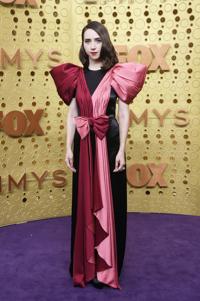 Zoe Kazan Evening Dress [clothing,purple,pink,violet,magenta,formal wear,dress,robe,abaya,textile,gown,zoe kazan,emmy awards,wear,clothing,fashion,pink,purple,robe,microsoft theater,gown,robe,formal wear,fashion,stx it20 risk.5rv nr eo,clothing,costume,socialite,lady m confections co. ltd,pink m]