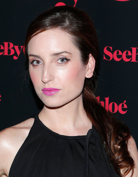 Zoe Lister Jones Bright Lipstick [hair,face,hairstyle,lip,eyebrow,chin,beauty,forehead,cheek,black hair,zoe lister jones,premiere,collection,see by chloe spring 2014,new york city,industria superstudio,seebychloe spring 14 collection presentation and premiere fragrance celebration,fragrance celebration]