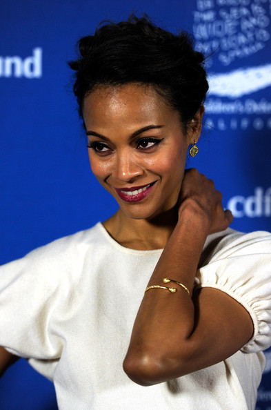 Zoe Saldana Gold Dangle Earrings