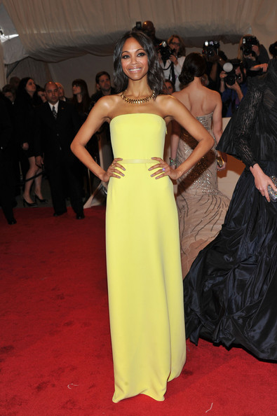 Zoe Saldana Evening Dress [alexander mcqueen: savage beauty,flooring,fashion model,yellow,gown,carpet,dress,fashion,shoulder,red carpet,cocktail dress,arrivals,zoe saldana,alexander mcqueen: savage beauty costume institute gala,metropolitan museum of art,new york city,costume institute gala]
