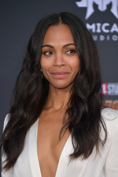 Zoe Saldana Long Wavy Cut [hair,human hair color,eyebrow,beauty,hairstyle,long hair,fashion model,black hair,chin,brown hair,arrivals,zoe saldana,california,los angeles,marvels avengers: infinity war,disney,premiere,premiere of disney]