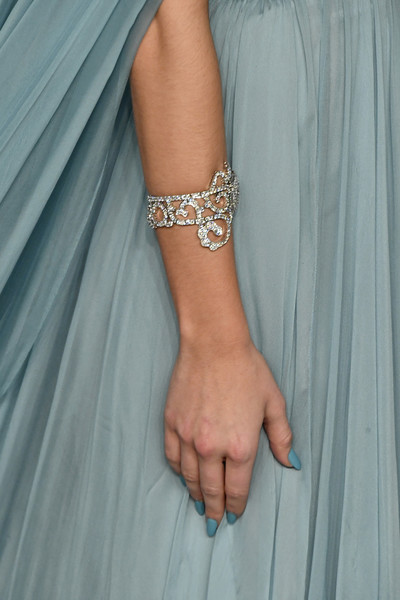 Zoey Deutch Pastel Nail Polish [bracelet,turquoise,wrist,jewellery,hand,fashion accessory,finger,arm,body jewelry,ring,radhika jones - arrivals,radhika jones,zoey deutch,jewelry detail,beverly hills,california,wallis annenberg center for the performing arts,oscar party,vanity fair,oscar party,vanity fair,photograph,fashion,party,academy awards,celebrity,actor,dress,ring]