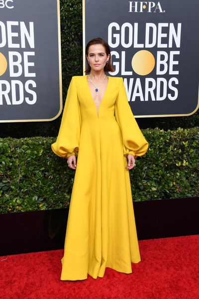 Zoey Deutch Jumpsuit [red carpet,clothing,carpet,yellow,dress,fashion,formal wear,flooring,shoulder,premiere,arrivals,carpet,dress,zoey deutch,red carpet,fashion,yellow,celebrity,clothing,golden globe awards,red carpet,celebrity,fashion,socialite,model,yellow,haute couture,gown,red,carpet]