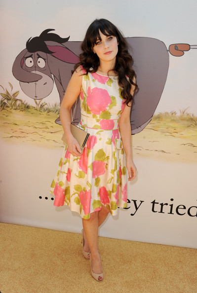Zooey Deschanel Print Dress [winnie the pooh,clothing,pink,dress,leg,shoulder,thigh,long hair,cocktail dress,photography,photo shoot,zooey deschanel,honey,los angeles,burbank,california,walt disney pictures,walt disney studios,premiere,premiere]