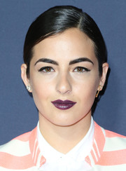 Alanna Masterson was a goth beauty with her eggplant-hued lipstick during the Zooey Deschanel and Tommy Hilfiger collection debut.