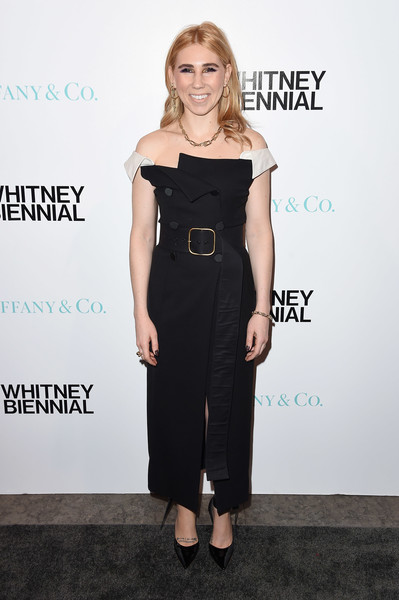 Zosia Mamet Off-the-Shoulder Dress [zosia mamet,whitney biennial,dress,clothing,shoulder,little black dress,cocktail dress,fashion model,fashion,hairstyle,footwear,joint,new york city,the whitney museum of american art,tiffany co]