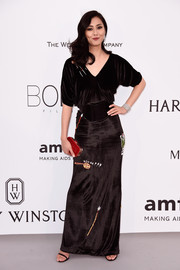 Liu Wen went for funky elegance in a playfully embellished black velvet gown by Vionnet during the amfAR Cinema Against AIDS Gala.