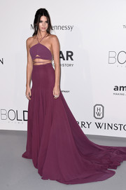 Kendall Jenner looked stunning in her plum-colored Calvin Klein Collection frock.