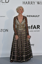 Helen Mirren glittered in a beaded, sheer-overlay gown by Temperley London at the amfAR Cinema Against AIDS Gala.