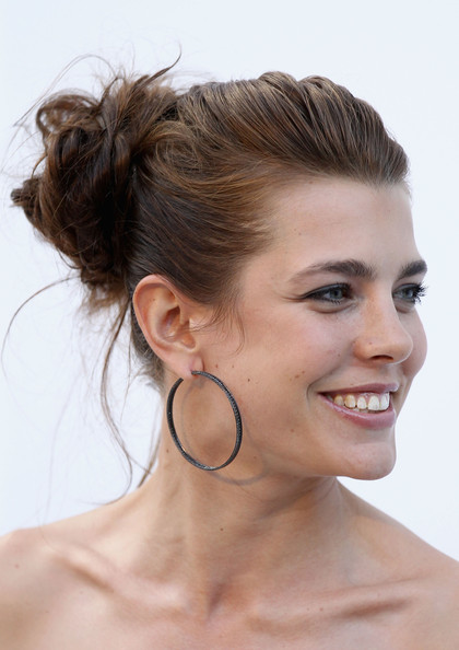 More Pics of Charlotte Casiraghi Messy Updo (1 of 5) - Updos Lookbook - StyleBistro [hair,face,hairstyle,chin,eyebrow,skin,forehead,chignon,bun,beauty,charlotte casiraghi,antibes,france,hotel du cap,amfar,red carpet arrivals,cannes film festival,cinema against aids gala]
