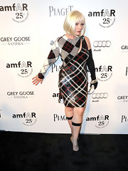 Deborah Harry showed off her alternative style in a beaded plaid single-sleeved dress at the amfAR Inspiration Gala.
