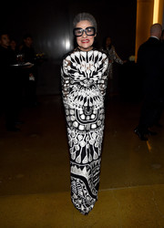 Joy Venturini Bianchi turned heads in an intricately embroidered black-and-white gown during the amfAR Inspiration Los Angeles dinner.
