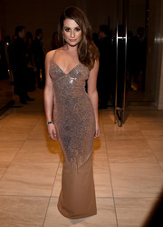 Lea Michele went for some bombshell glamour in a low-cut sequined gown by Versace during the amfAR Inspiration Los Angeles dinner.