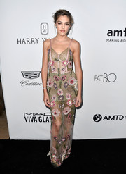 Sistine Stallone looked enchanting in a floral-beaded meshwork gown by PatBo at the amfAR Gala in Los Angeles.