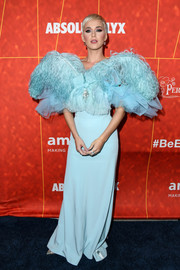 Katy Perry got frilled up in a pastel-blue Alexis Mabille Couture gown with a feather-festooned bodice for the amfAR Gala Los Angeles 2018.