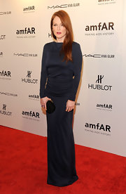 Julianne Moore wore a long-sleeve navy gown to the amfAR NY gala.