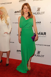 Sasha Alexander looked radiant in a kelly green gown with an angled hem at the amfAR NYFW gala.