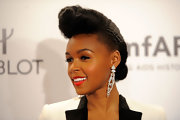 Janelle Monae wore her hair in a cool high reverse roll with a classic bun in the back at the 2012 amfAR Gala.