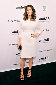Katharine McPhee looked pristine in this white cuffed cocktail dress at the NY amfAR gala.