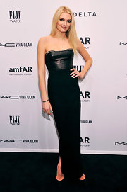 Lily Donaldson looked domi-chic in this black leather-clad column dress at the amfAR Gala.