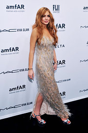Lindsay's dress was all about the movement with its flapper-worthy beads at the amfAR New York Gala.