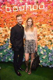 Mischa Barton looked demure up top in a white blouse with lace sleeves at the boohoo.com LA pop-up store opening.