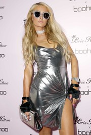 Paris Hilton accessorized with a bedazzled pair of Gucci cateye sunnies at the launch of her collection with boohoo.