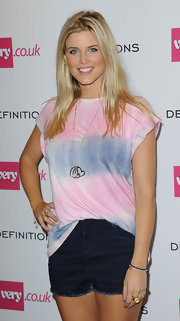 Ashley James opted for a casual look with this tie-dye shirt and jean shorts combo when she attended the Very.co.uk launch party.
