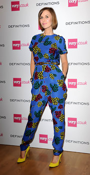 Katherine Kelly was a vibrant mix of colors in this jumpsuit and pumps combo during the Very.co.uk launch party.