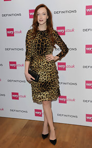 Olivia Grant looked timeless in a leopard-print dress with a tiered skirt at the Very.co.uk launch party.