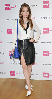 Rosie Fortescue looked smart and sexy in a black-and-white blouse and a leather skirt at the Very.co.uk launch party.