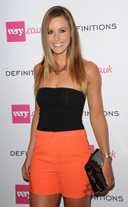 Charlie Webster brought her summer style to the Very.co.uk launch party with this tube top and shorts combo.