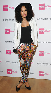 Jade Ewen's print pants added a vibrant mix of colors to her ensemble at the Very.co.uk launch party.