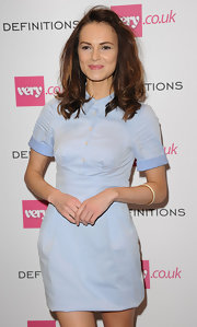 Kara Tointon's pastel blue shirtdress at the Very.co.uk launch party had a preppy feel.