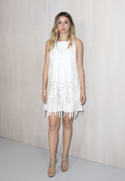 Ana de Armas kept it fun yet chic in a fringed white shift dress by Bottega Veneta at the 2017 Hammer Museum Gala.