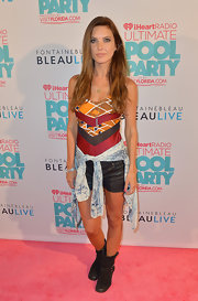Audrina sported this geometric-print fitted blouse at the iHeartRadio Ultimate Pool Party.