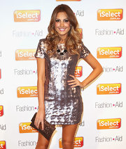 Laura Dundovic totally sparkled at the iSelect Fashion + Aid in this beaded gold clutch and metallic dress combo.