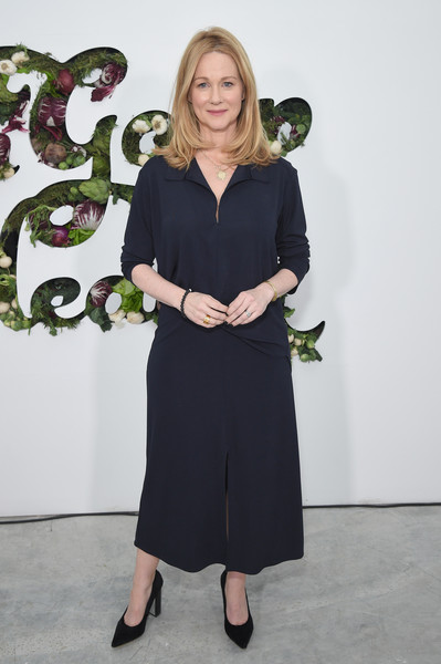 Laura Linney was casual in a navy polo shirt at the In goop Health Summit.