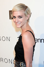 Ashlee Simpson Wentz opted for a slick hairstyle at the I Heart Ronson collection event. She parted her straight locks down the side and swept her bangs across her face.