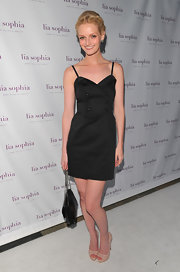 Lydia Hearst donned a button-adorned LBD with spaghetti straps for the Lia Sophia collection launch.