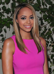 Actress Amber Stevens paired her hot pink frock with a sleek and straight 'do for the lia sophia party in Hollywood.