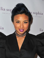 Jeannie Mai topped off her fiercely chic ensemble with a beaded choker necklace when she attended the unveiling of lia sophia's latest jewelry creations.