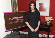 Ashley Greene sported a classic navy dress for a sophisticated look while speaking in Washington D.C.