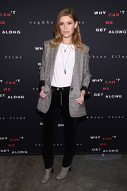 Kate Mara smartened a plain white shirt with a plaid blazer for the premiere of 'Why Can't We Get Along.'