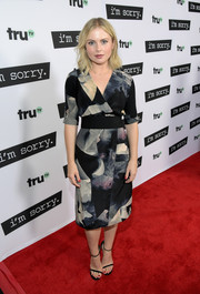 Rose McIver cut a stylish figure in a painterly-print wrap dress at the premiere of 'I'm Sorry.'