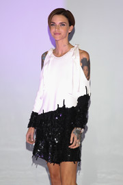 Ruby Rose went offbeat at the Mexico photocall for 'xXx: Return of Xander Cage' in a black-and-white cold-shoulder dress with bowed straps and a sequined bottom.