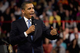 Barack Obama in President Obama Holds Town Hall Meeting In Missouri